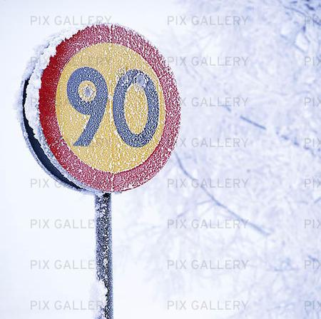 Frostig trafikskylt