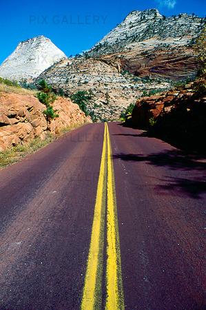 Highway genom Zion Nationalpark, USA