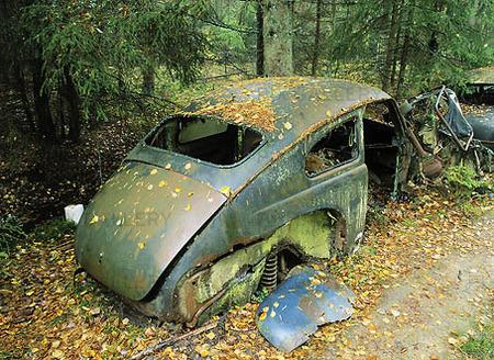 Skrotbil i skog