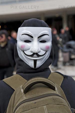 Demonstration med Guy Fawkes-mask