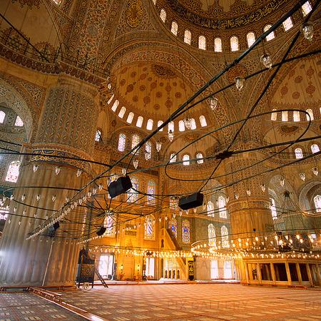 Interiör Blå Moskén i Istanbul, Turkiet
