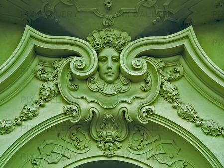 Art Nouveau fasad dekoration. Mala Strana. Prag. Tjeckien.