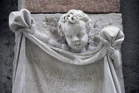 Detalj i Sebastiansfriedhof kyrkogård i Salzburg, Österrike