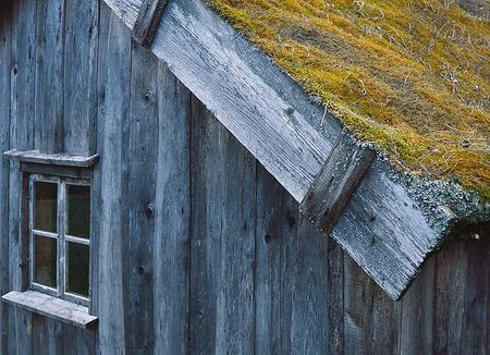 Äldre hus med grästak