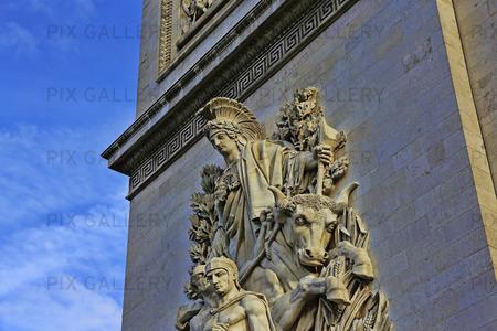 Detalj på Triumfbågen i Paris, Frankrike