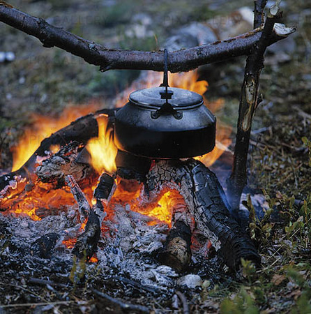 Campfire with coffee boiler
