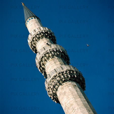 Minaret of the Yeni Cami in Istanbul, Turkey