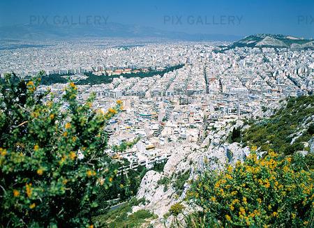 Vy över Aten, Grekland