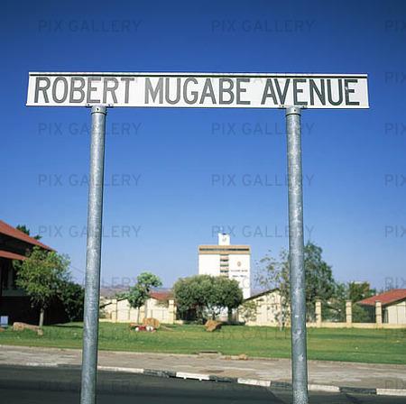 Gatuskylt i Windhoek, Namibia