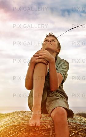 Pojke på höbal