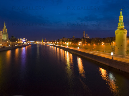 Kreml at Dusk.The Moscow River. Moscow.Russian Federation