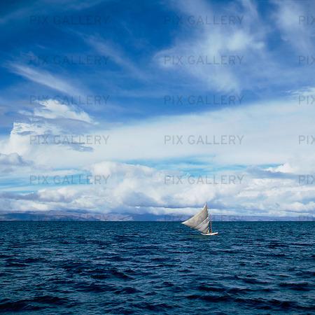 Segelbåt på Titicacasjön, Bolivia