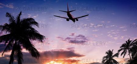 Flygplan i solnedgång