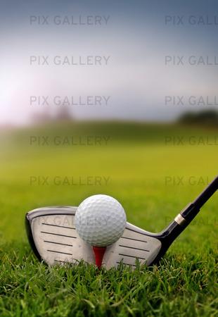 Golf klubba och boll på gräs