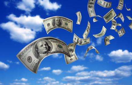 Dollarsedlar som faller frå himmlen