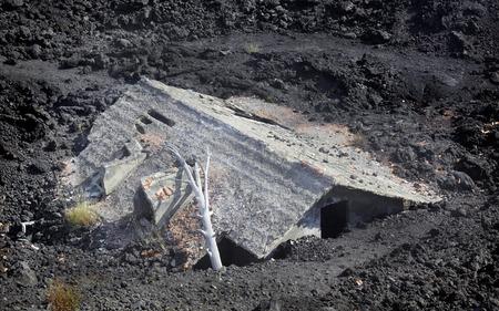 Hus efter ett vulkanutbrott