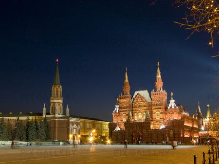 Historiska museet och The Kremlin.The Red Square.Moscow. Ryska federationen.