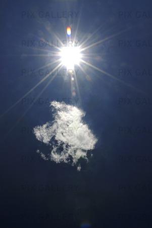 Himmel sol och moln