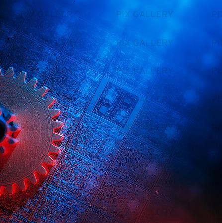 Elektronik och ett kugghjul