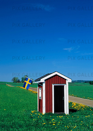 Litet hus med svensk flagga