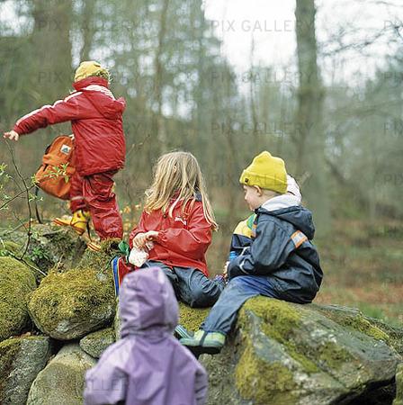 Lek i skogen barn