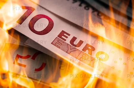 Eurosedlar som brinner