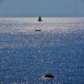 Segelbåt och mindre fritidsbåt på havet
