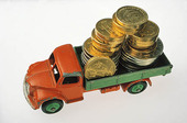 Swedish coins on toy car