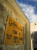 Skylt vid Tut Ankh Amon grav, Egypten