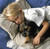 Flicka och hund