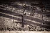 Skuggor på gammal vägg