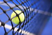 Tennisboll i nät