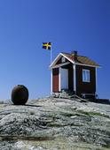 Stuga med Svensk flagga
