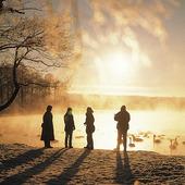 Människor i vintermiljö