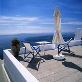 Terass på Santorini, Grekland