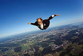 Parachute jump, free-fall in costume