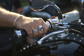 Motorcyclists with a skull ring