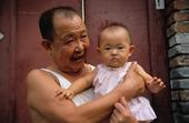 Grandpa and grandson, China