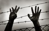 Flykting vid taggtrådsstängsel