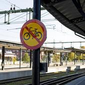 Cyklingförbud på järnvägsstation