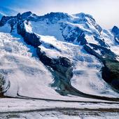 Breithorn och Schwarz glaciär, Schweiz