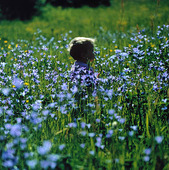 Barn i blomsteräng