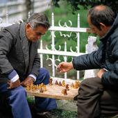 Äldre män spelar schack, Albanien