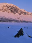 Gryningsol på Lulep Kierkau, Lappland