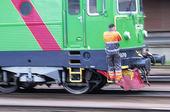 Järnvägsarbetare på tåg