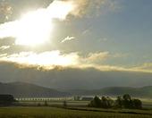 Morgonljus över landskap
