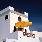Balkong med parasoll, Grekland