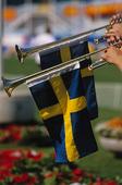 Svensk flagga på trumpet