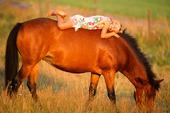 Flicka på häst