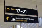 Informationsskylt på svensk flygplats